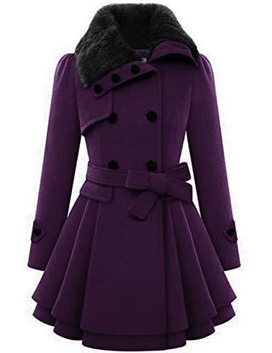 Zeagoo Women's Wool Trench Coat Lapel Wrap Swing Winter Long Overcoat Jacket