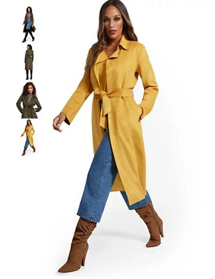 Faux-Suede Wrap Trenchcoat