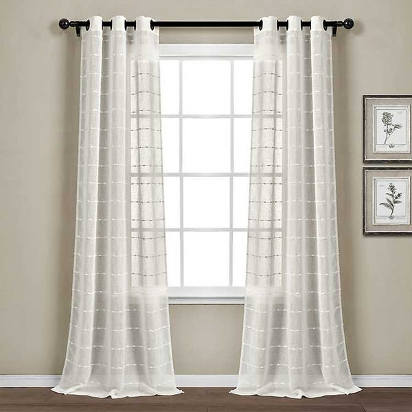 Sheer White Textured Curtain Panel Set, 84 in