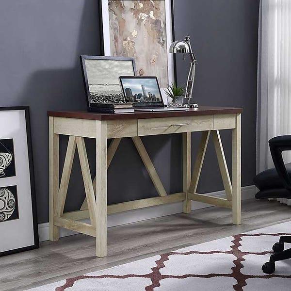White Oak Farmhouse A-Frame Desk with Brown Top