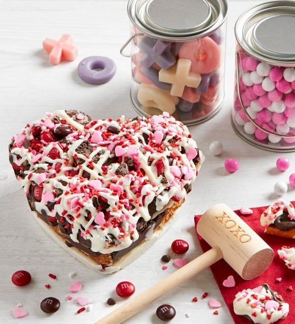 Chocolate Pretzel Heart with XOXOXO Mallet