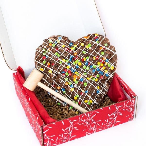 Heart Shaped Chocolate Pizza with Mallet