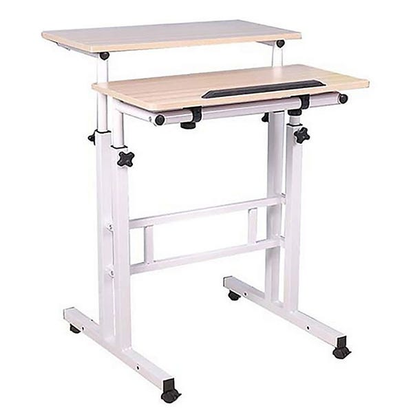 Mind Reader 2-Tier Sit and Stand Desk in White