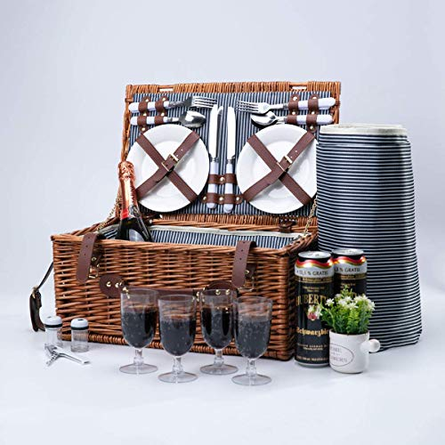 Arkmiido Wicker Picnic Basket Sets for 4