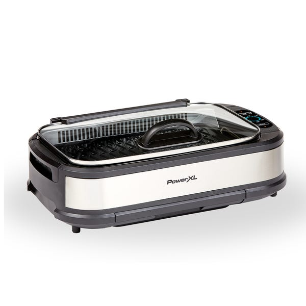 PowerXL Smokeless Grill Plus with Tempered Glass Lid and Turbo Speed Smoke Extractor Technology