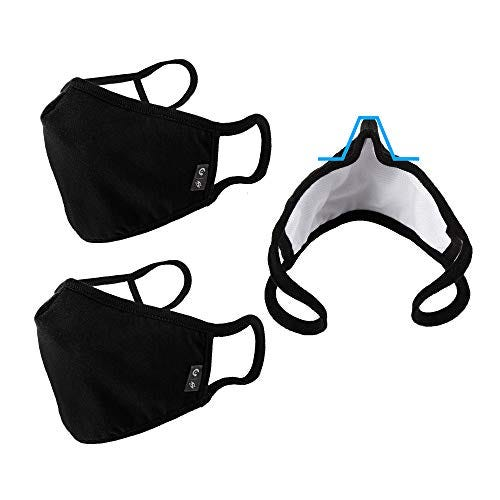 WITHMOONS Cloth Face Mask Washable Reusable 3 Ply Mouth Shield Breathable with Nose Wire