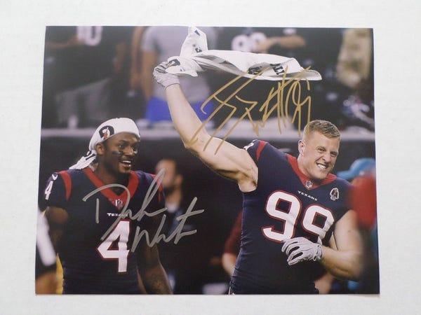 Houston Texans DeShaun Watson and JJ Watt 8 by 10 signed photo