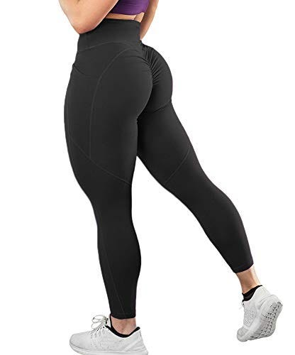 Aurgelmir Womens Scrunch Workout Sports Leggings Butt Lifting Ruched Booty Yoga Pants with Pocket