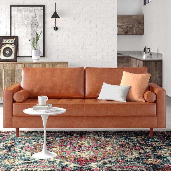 "84"" Wide Genuine Leather Square Arm Sofa"