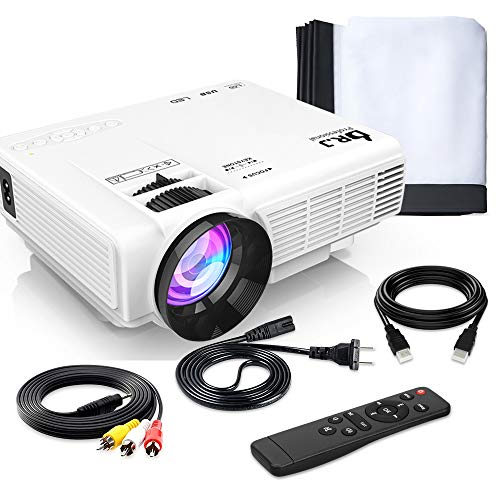 Mini Projector Outdoor Movie Projector with 100-inch Projector Screen