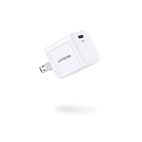 LETSCOM USB C Charger, 20W Fast Charger, Compact PD 3.0 USB C Power Adapter Compatible with iPhone 12/12 Mini/12 Pro/12 Pro Max/11/XS, Galaxy, Pixel 4/3, iPad Pro, AirPods/AirPods Pro, and More