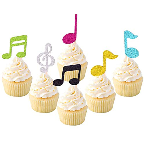 36 Pcs Music Notes Cupcake Toppers