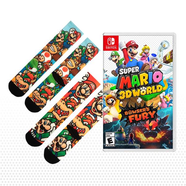 Super Mario 3D World + Bowser's Fury & 2 Pairs of Mario Socks