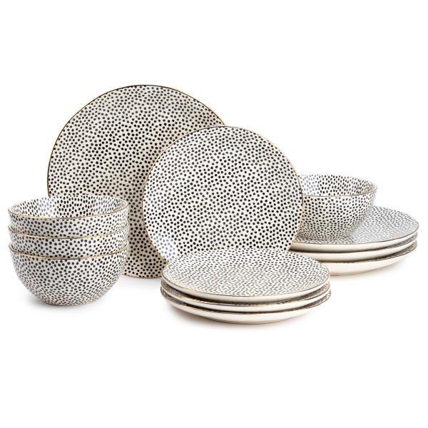 Dinnerware Black & White Dot Stoneware, 12 Piece Set