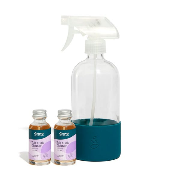 Tub & Tile Cleaner Concentrate + Glass Spray Bottle with Silicone Sleeve