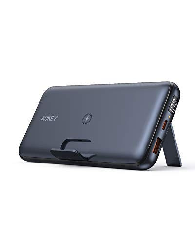 Wireless Portable Charger 20000mAh, AUKEY USB C Power Bank PD 3.0 with Foldable Stand, Quick Charge 3.0 Cell Phone External Battery Pack for iPhone 12/12 Pro/11/XR, Samsung, iPad Air