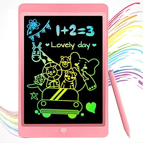Moliston LCD Writing Tablet 10 Inch Digital Drawing Board,Colorful Drawing pad LCD Drawing Tablet for Kids, Digital Doodle Board for 2 3 4 5 6 Years Old Boys Girls (Pink)