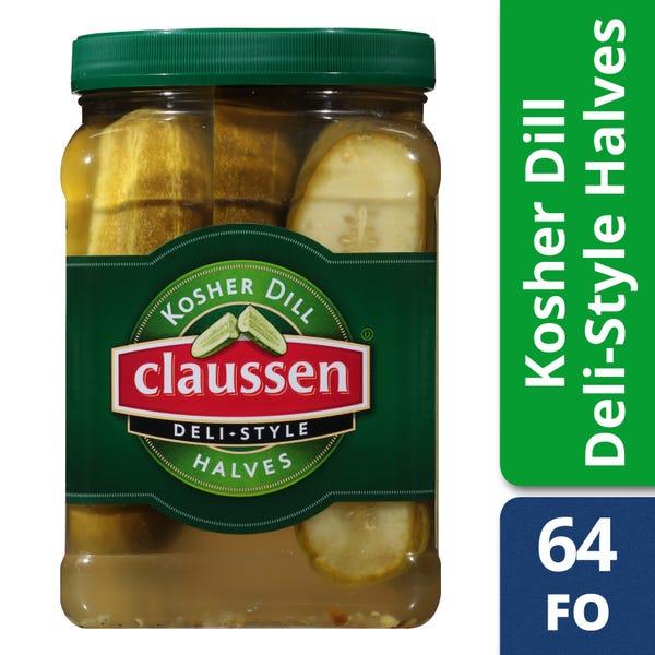 Claussen Kosher Deli-Style Pickle Halves, 64 fl oz Jar