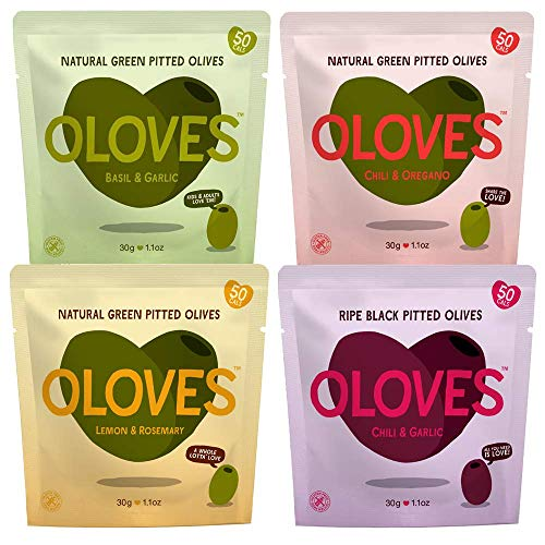 OLOVES Natural Whole Pitted Olives | 12 Pack Variety