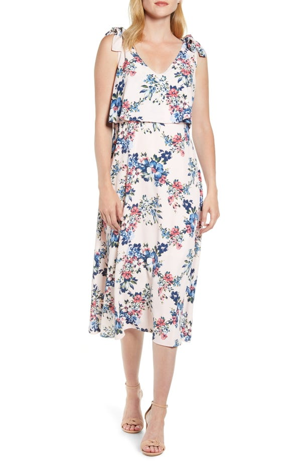 Bobeau Lisette Tie Strap Midi Dress
