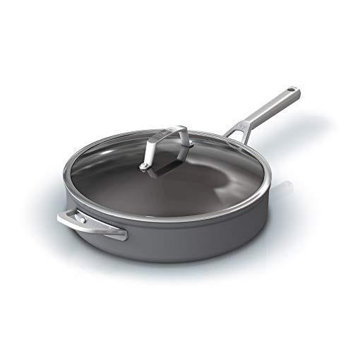 Ninja Foodi NeverStick Premium Hard-Anodized 5-Quart Sauté Pan with Glass Lid, slate grey, C30150