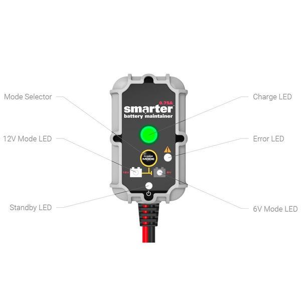 Smartech 0.75 Amp 6-Volt/12-Volt Trickle Battery Charger, Maintainer