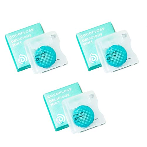 COCOFLOSS Coconut-Oil Infused Woven Dental Floss   Mint  Dentist-Designed   Vegan and Cruelty-Free   6 month Supply (32 Yds x 3 Units)