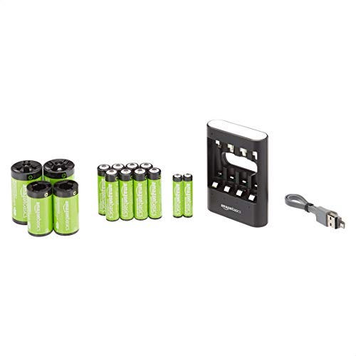 Amazon Basics USB Battery Charger Pack with AA (8-Pack), AAA (2-Pack) Rechargeable Batteries, C and D Converters – Black