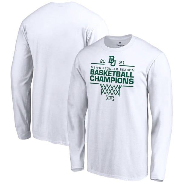 Baylor Bears Fanatics Branded 2021 Big 12 Men's Basketball Regular Season Champions Long Sleeve T-Shirt - White