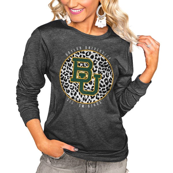 Baylor Bears Women's Call the Shots Luxe Boyfriend Long Sleeve T-Shirt - Charcoal
