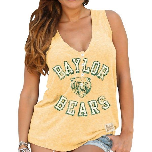 Baylor Bears Original Retro Brand Women's Relaxed Henley V-Neck Tri-Blend Tank Top - Yellow