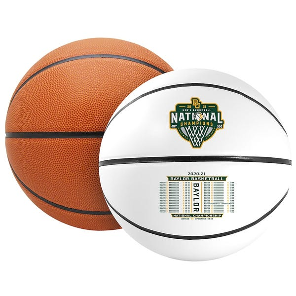 Baylor Bears Fanatics Authentic 2021 NCAA Men's Basketball National Champions Rawlings Official Size White Panel Basketball