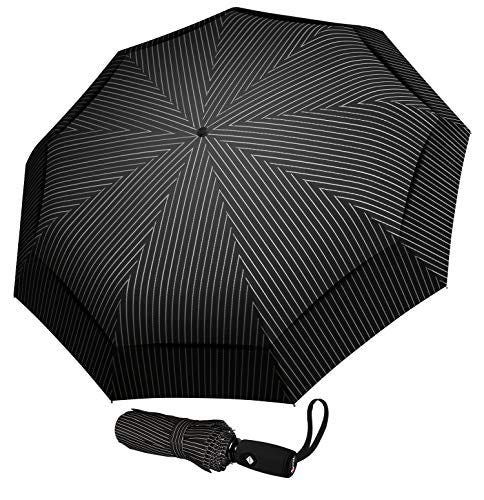 Repel Umbrella Windproof Travel Umbrella with Teflon Coating (Pin Stripe)