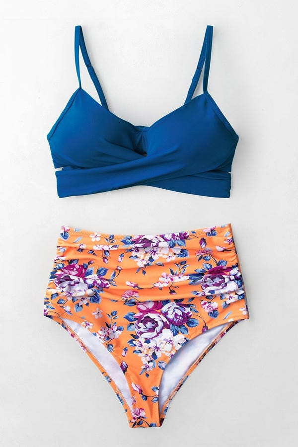 Leafy One Shoulder Bandeau Bikini Top