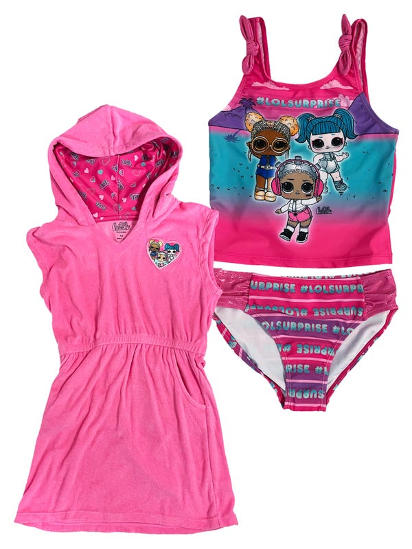 LOL Girls Tankini Two-Piece Swimsuit and Cover-Up Set