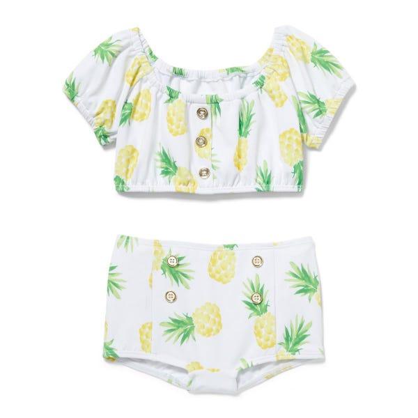 Pineapple Puff Sleeve 2-Piece Swimsuit