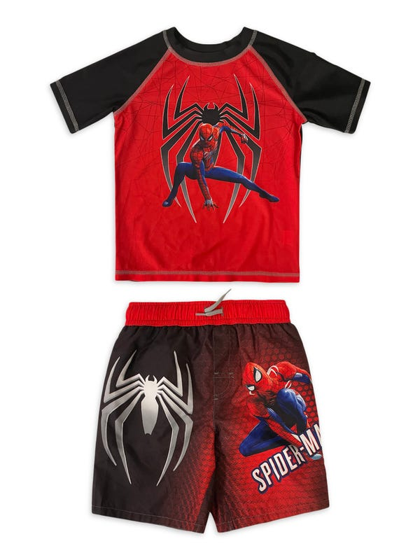 Spider-Man Boys Short Sleeve Rash Guard & Swim Trunks Set