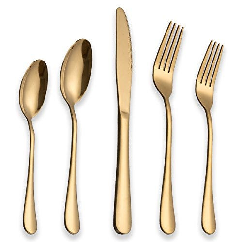 Stainless Steel With Titanium Gold Plated Flatware Set | 20 piece