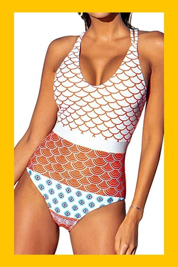 Geo-Print Bathing Suit