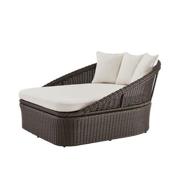 2-Person Gray Wicker Outdoor Patio Daybed with Almond Cushion