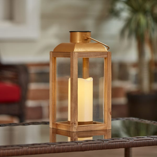 Gold Wood and Glass Solar Powered Lantern with LED Candle