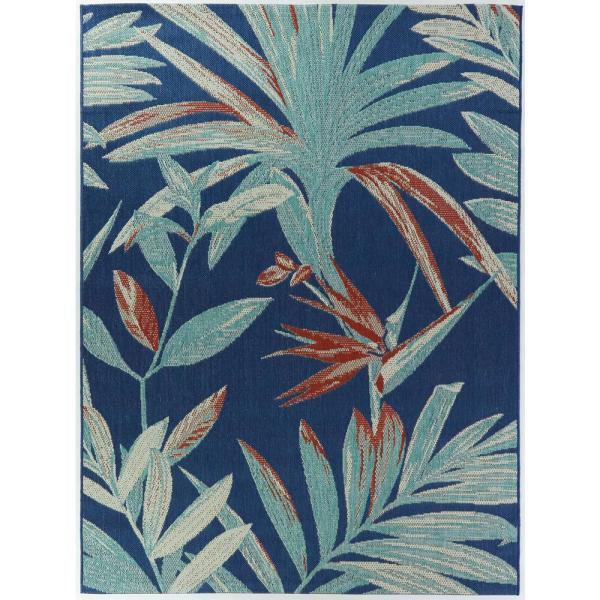 Palm Blue Argyle Indoor/Outdoor Area Rug