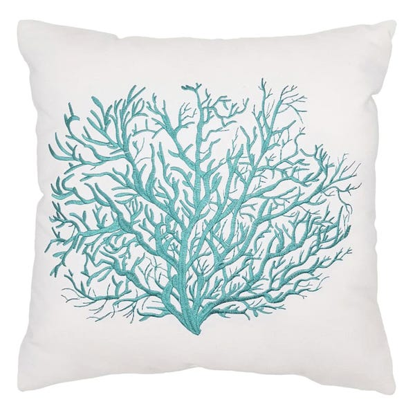 Outdoor Pillow Reversible Embroidered Coral