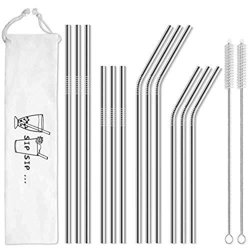 12-Pack Reusable Stainless Steel Metal Straws with Case