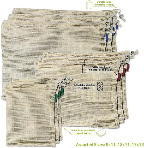 Natural Cotton Mesh Reusable Produce Bags