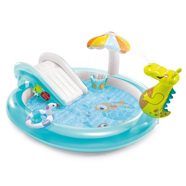 Gator Outdoor Inflatable Kiddie Pool Water Play Center with Slide
