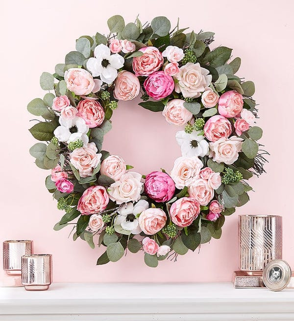 "Pink Peony Wreath- 28"""