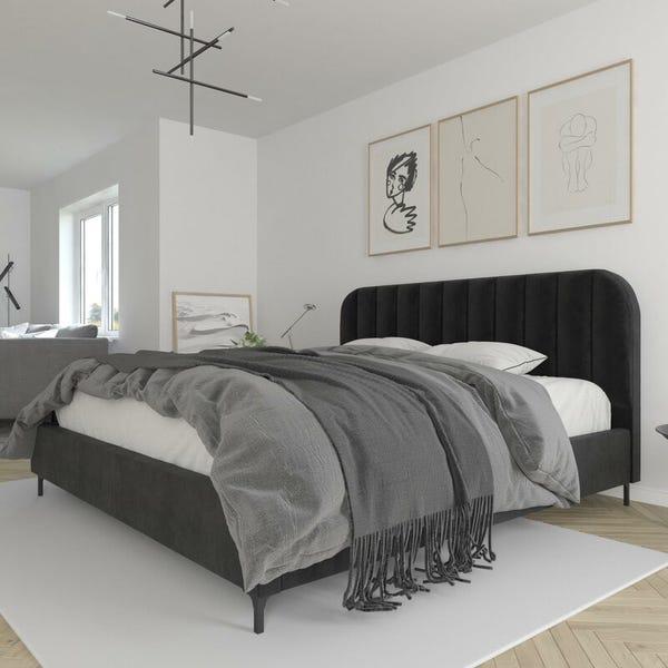 Black Perrine Upholstered Low Profile Platform Bed