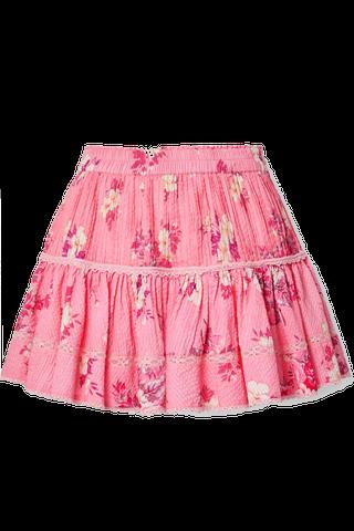 Floral Print Seersucker Mini Skirt