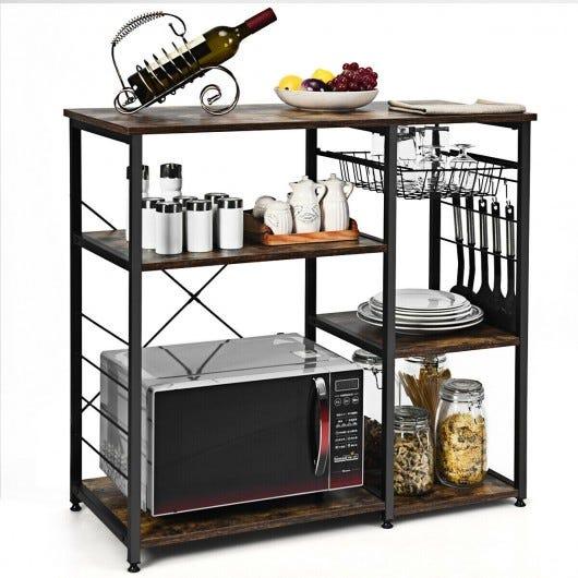 Industrial Kitchen Baker's Rack Microwave Shelf with 6 Hooks